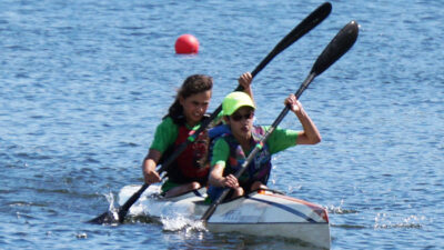 2 Paddlers in a K2 Race
