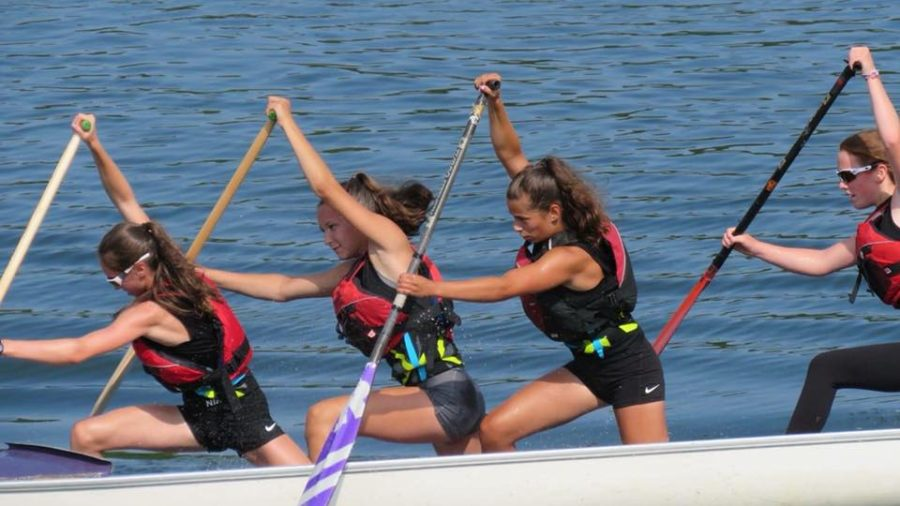 4 Young Ladies Paddling a C4 Canoe